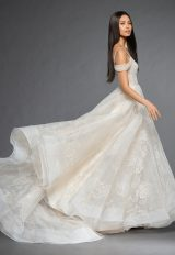 Sweetheart Neckline Sequin Bodice Off The Shoulder Cap Sleeve Ball Gown Wedding Dress by Lazaro - Image 2