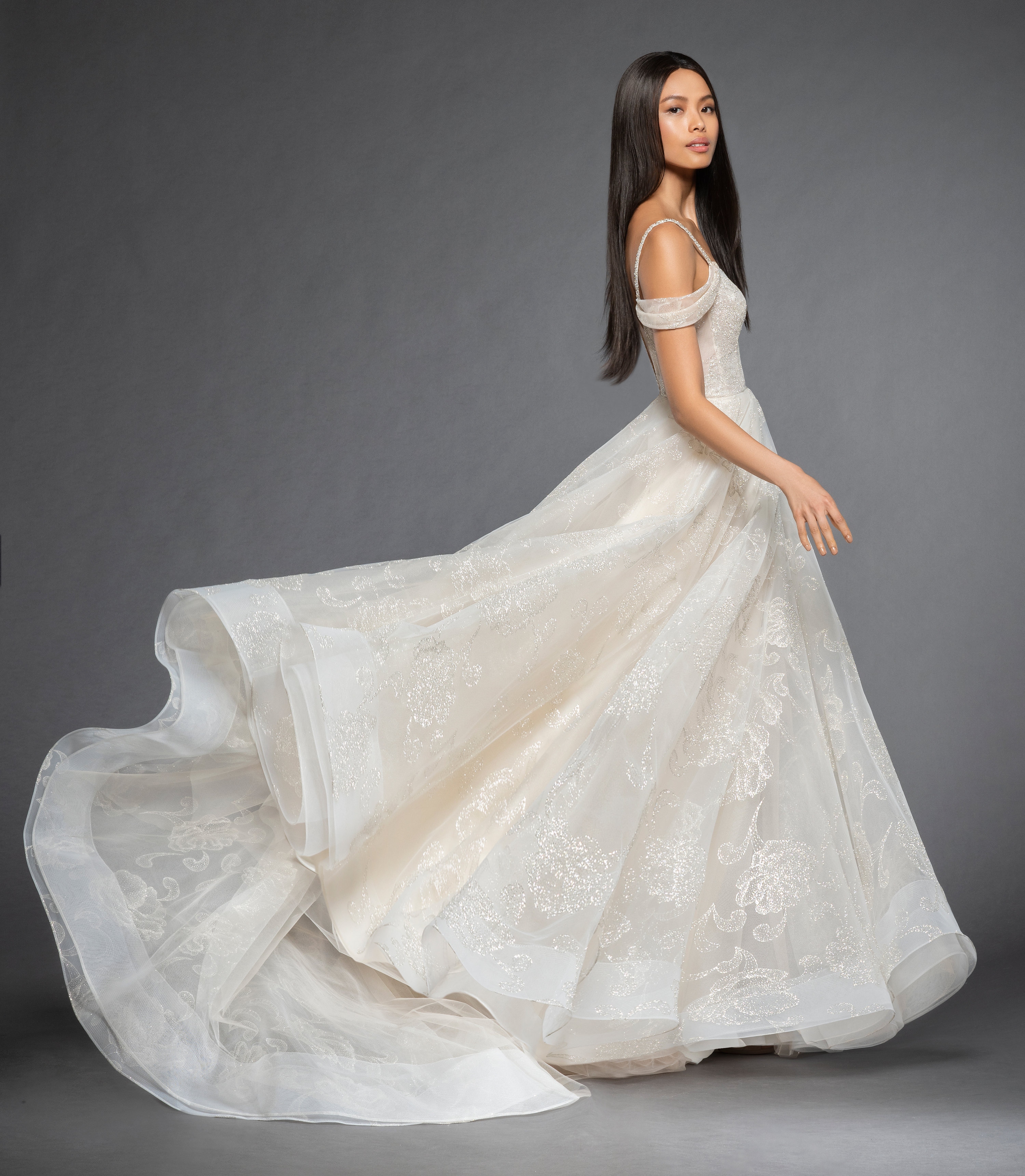 Wedding Dress: Sweetheart Neckline Sequin Bodice Off The Shoulder Cap