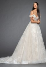 Sweetheart Neckline Sequin Bodice Off The Shoulder Cap Sleeve Ball Gown Wedding Dress by Lazaro - Image 1