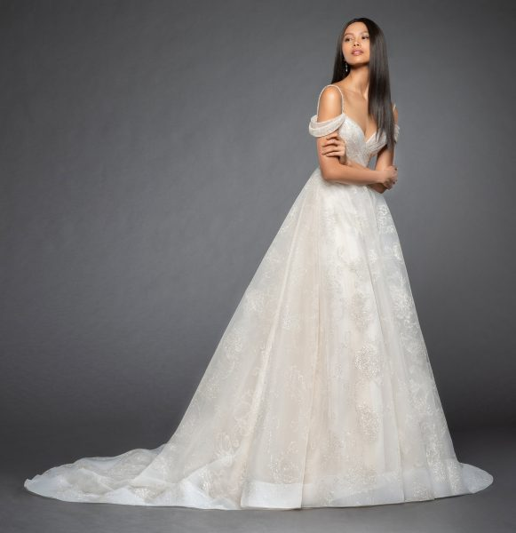 Sweetheart Neckline Sequin Bodice Off The Shoulder Cap Sleeve Ball Gown Wedding Dress By Lazaro