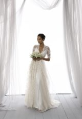 3/4 Length Lace Sleeve Scalloped Neckline A-line Wedding Dress by Le Spose Di Gio - Image 1
