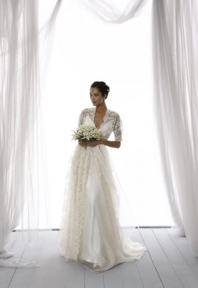 4abd633560f 3 4 Length Lace Sleeve Scalloped Neckline A-line Wedding Dress by Le Spose