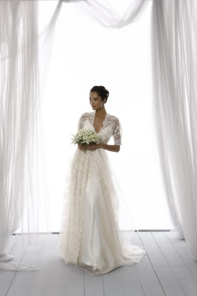 3/4 Length Lace Sleeve Scalloped Neckline A-line Wedding Dress ...