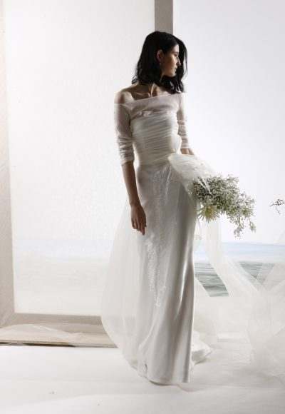 3/4 Sleeve Illusion Top Off The Shoulder A-line Wedding Dress by Le Spose Di Gio