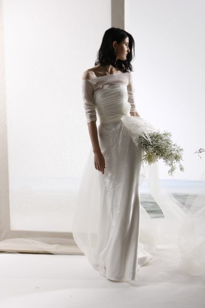 3/4 Sleeve Illusion Top Off The Shoulder A-line Wedding Dress by Le Spose Di Gio - Image 1