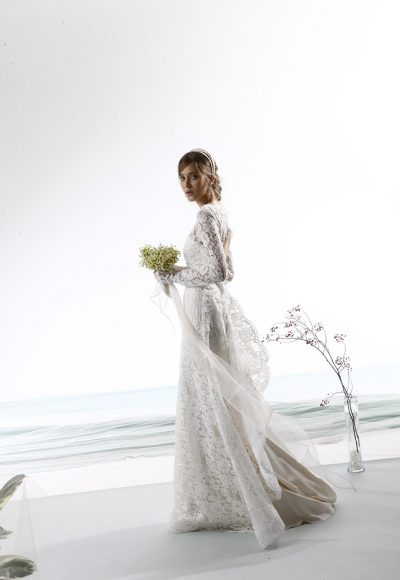 Long Sleeve Fully Lace A-line Wedding Dress by Le Spose Di Gio