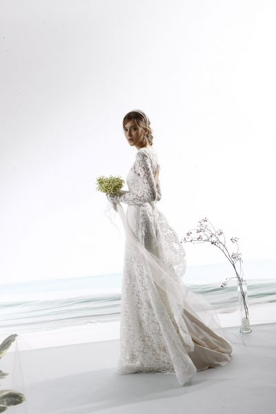 Long Sleeve Fully Lace A-line Wedding Dress by Le Spose Di Gio - Image 1
