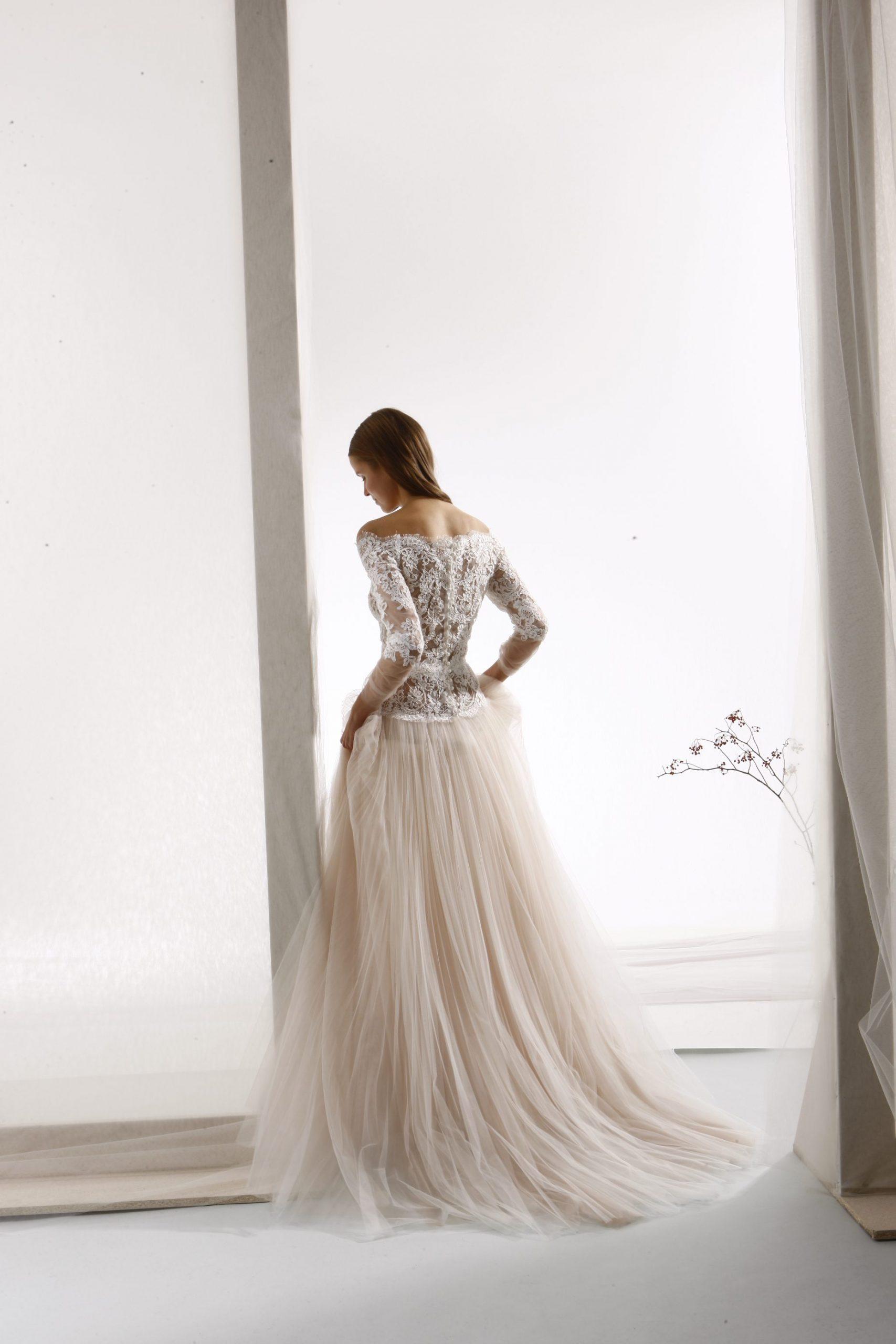 Off The Shoulder Lace Bodice A Line Wedding Dress Kleinfeld Bridal