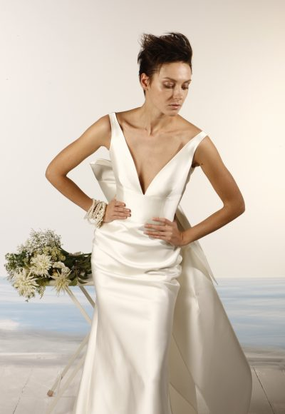 Sleeveless V-neck Satin Fit And Flare Wedding Dress by Le Spose Di Gio