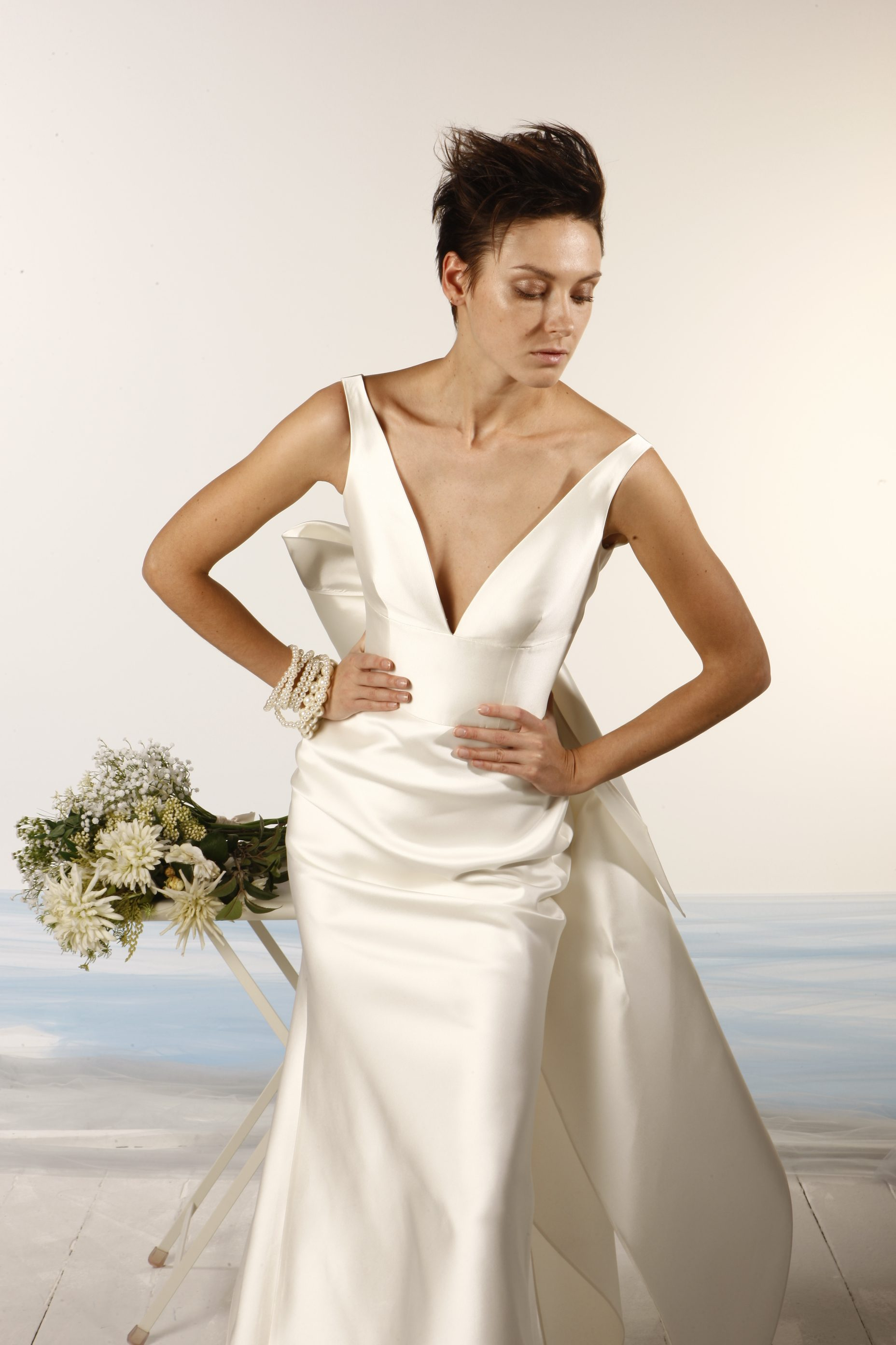 94c45e71490 Sleeveless V-neck Satin Fit And Flare Wedding Dress