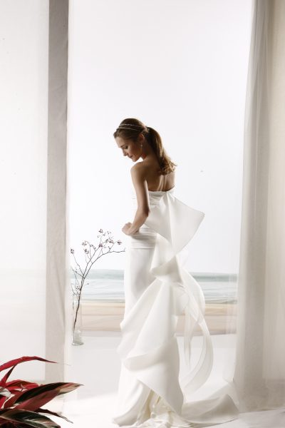 Strapless Ruched Bodice Sheath Wedding Dress by Le Spose Di Gio - Image 2