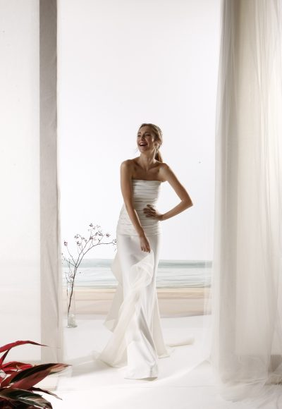 Strapless Ruched Bodice Sheath Wedding Dress by Le Spose Di Gio