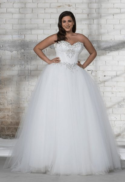 Corset Beaded Bodice With Tulle Ball Gown Skirt Wedding Dress