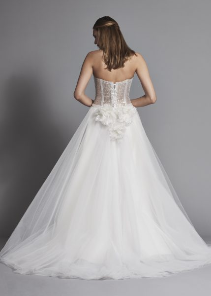 Glitter Strapless Ball Gown Wedding Dress With Corset Bodice And Flower Applique by Love by Pnina Tornai - Image 2