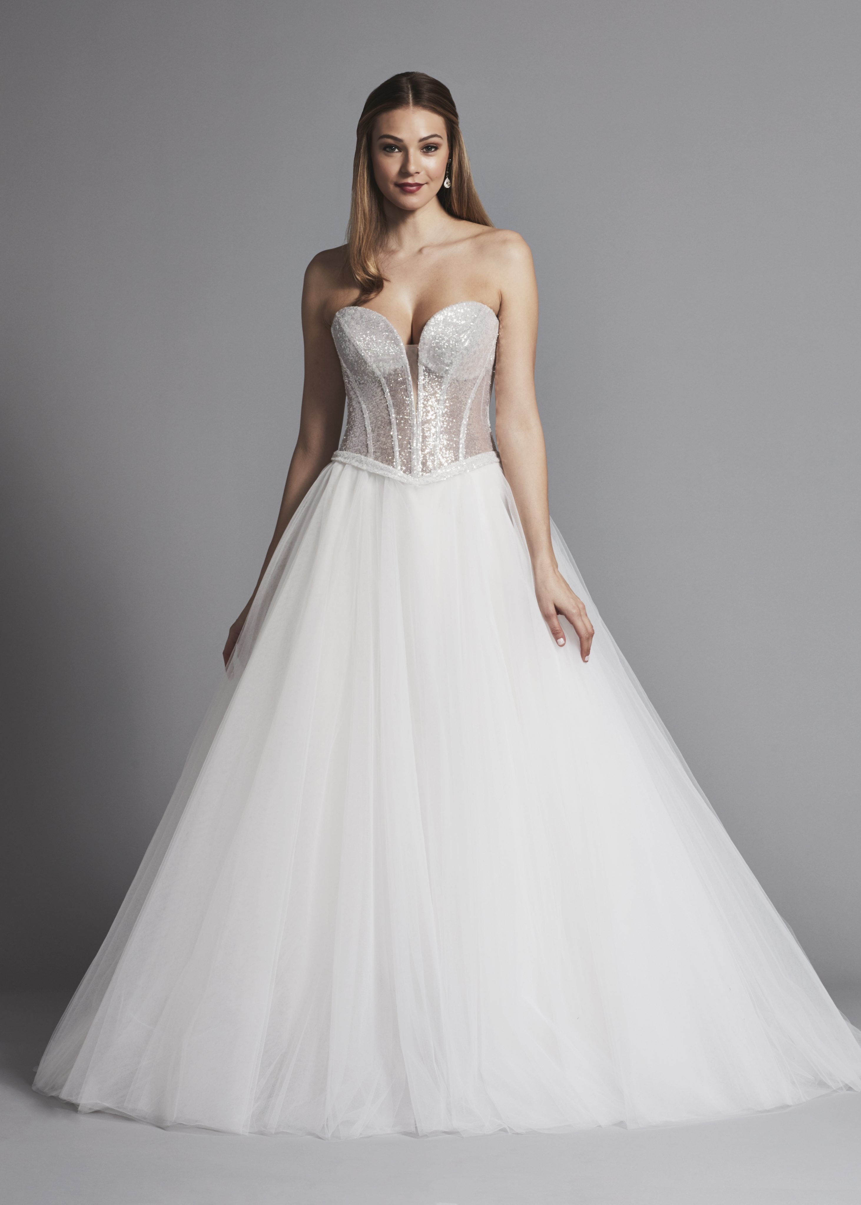 Glitter Strapless Ball Gown Wedding Dress With Corset Bodice And