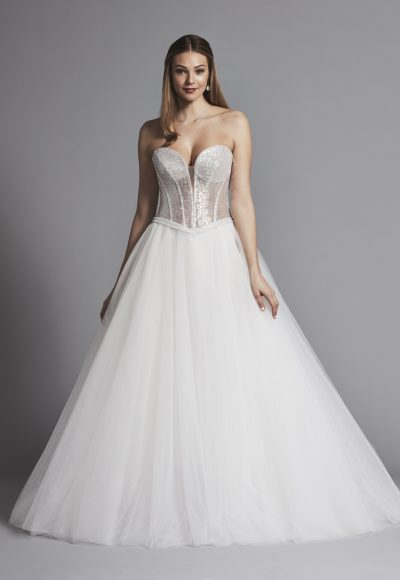 Glitter Strapless Ball Gown Wedding Dress With Corset Bodice And Flower Applique by Love by Pnina Tornai