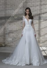 Long Sleeve Illusion Sheath V-neck Wedding Dress With Detachable Tulle Overskirt by Love by Pnina Tornai - Image 2
