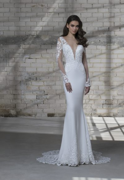 Long Sleeve Illusion Sheath V-neck Wedding Dress With Detachable Tulle Overskirt by Love by Pnina Tornai