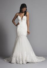 Romantic Spaghetti Strap Lace And Tulle Mermaid Wedding Dress by Love by Pnina Tornai - Image 1