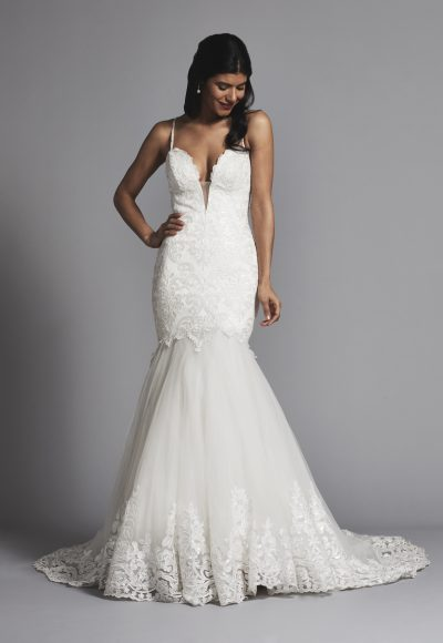 Romantic Spaghetti Strap Lace And Tulle Mermaid Wedding Dress by Love by Pnina Tornai