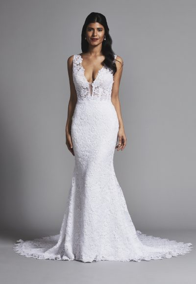 Sexy And Romantic Sleeveless Lace Fit And Flare Wedding Dress by Love by Pnina Tornai