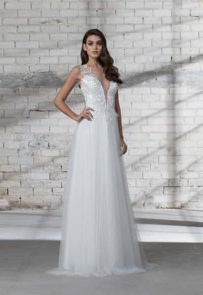 Sleeveless A-line Tulle Skirt With Corset Bodice Wedding Dress by Love by Pnina Tornai