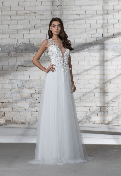Sleeveless A-line Tulle Skirt With Corset Bodice Wedding Dress by Love by Pnina Tornai - Image 1