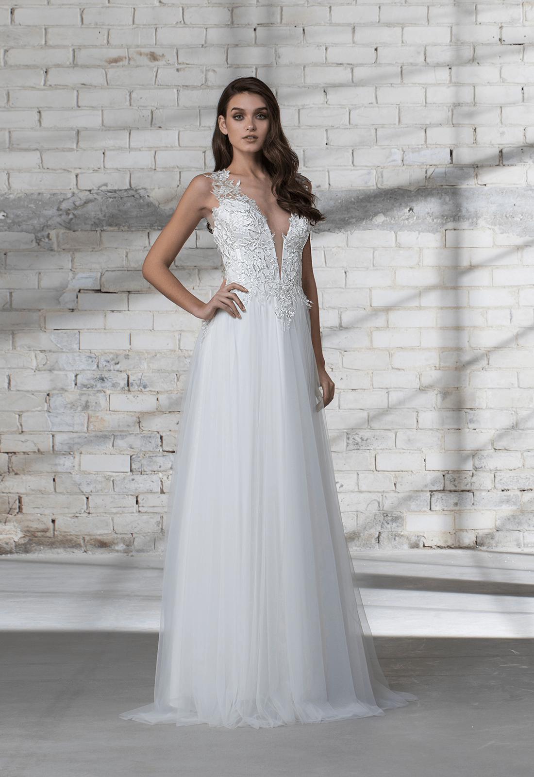 Sleeveless A-line Tulle Skirt With Corset Bodice Wedding Dress ...