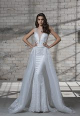 Sleeveless Beaded Sheath Wedding Dress With Deep V-neckline And Detachable Glitter Overskirt by Love by Pnina Tornai - Image 1