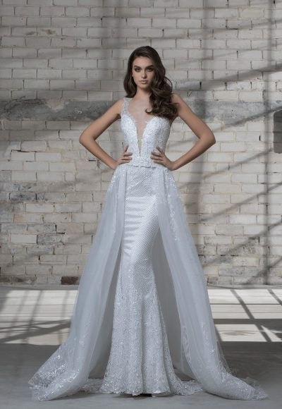 Sleeveless Beaded Sheath Wedding Dress With Deep V-neckline And Detachable Glitter Overskirt by Love by Pnina Tornai