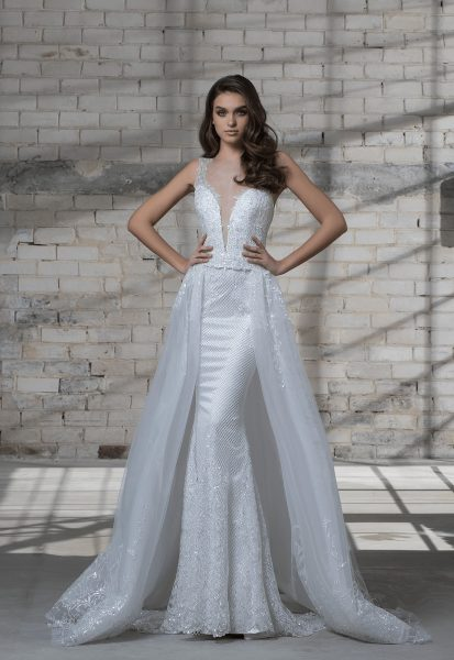 Sleeveless Beaded Sheath Wedding Dress With Deep V Neckline And Detachable Glitter Overskirt By Love