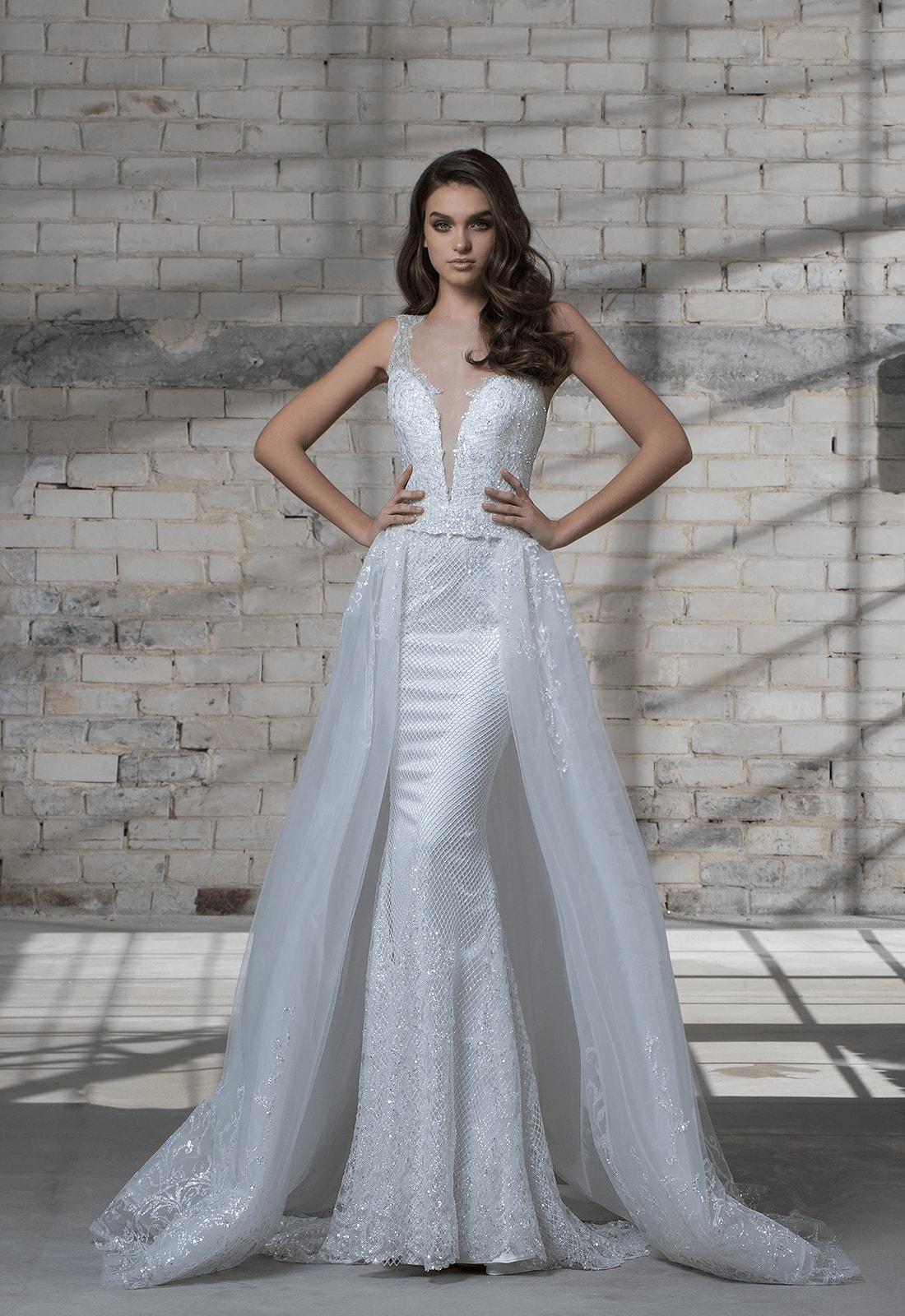Sleeveless Beaded Sheath Wedding Dress With Deep V-neckline And ...