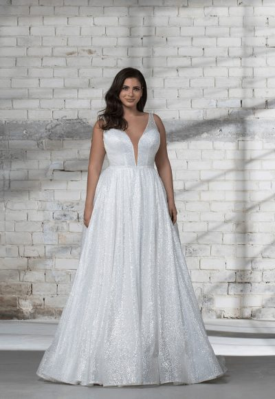 Sleeveless Glitter A-line V-neck Wedding Dress by Love by Pnina Tornai