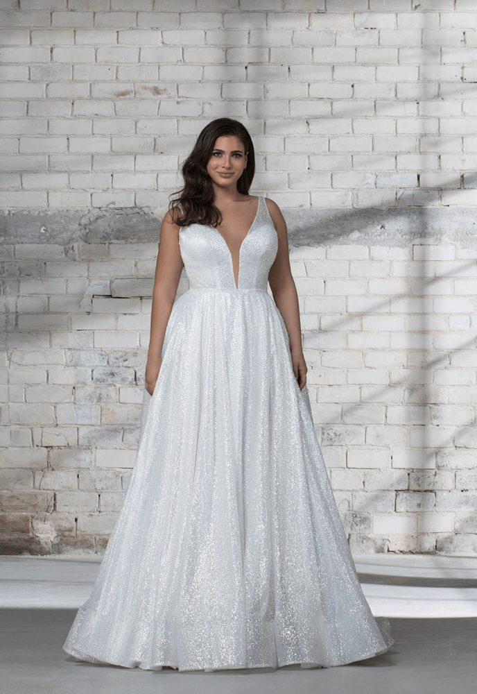 Sleeveless Glitter A-line V-neck Wedding Dress by Love by Pnina Tornai - Image 1