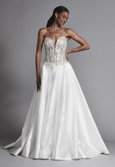 Strapless Beaded Bodice A-line Wedding Dress by Love by Pnina Tornai
