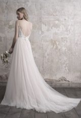 Spaghetti Strap Deep V-neck Lace Bodice Tulle Skirt Wedding Dress by Madison James - Image 2