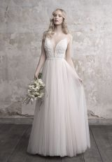 Spaghetti Strap Deep V-neck Lace Bodice Tulle Skirt Wedding Dress by Madison James - Image 1
