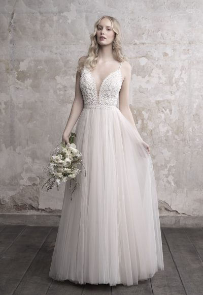 Spaghetti Strap Deep V-neck Lace Bodice Tulle Skirt Wedding Dress by Madison James