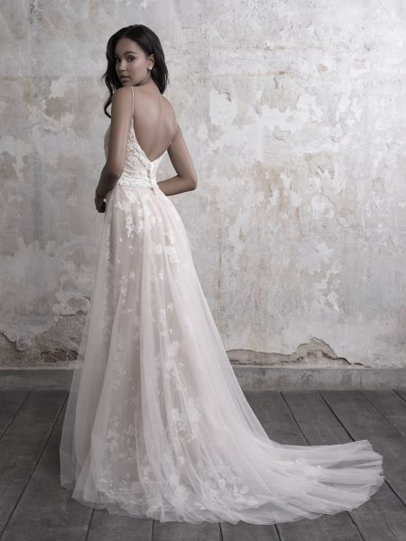 Spaghetti Strap Floral Lace And Tulle A-line Wedding Dress by Madison James - Image 2