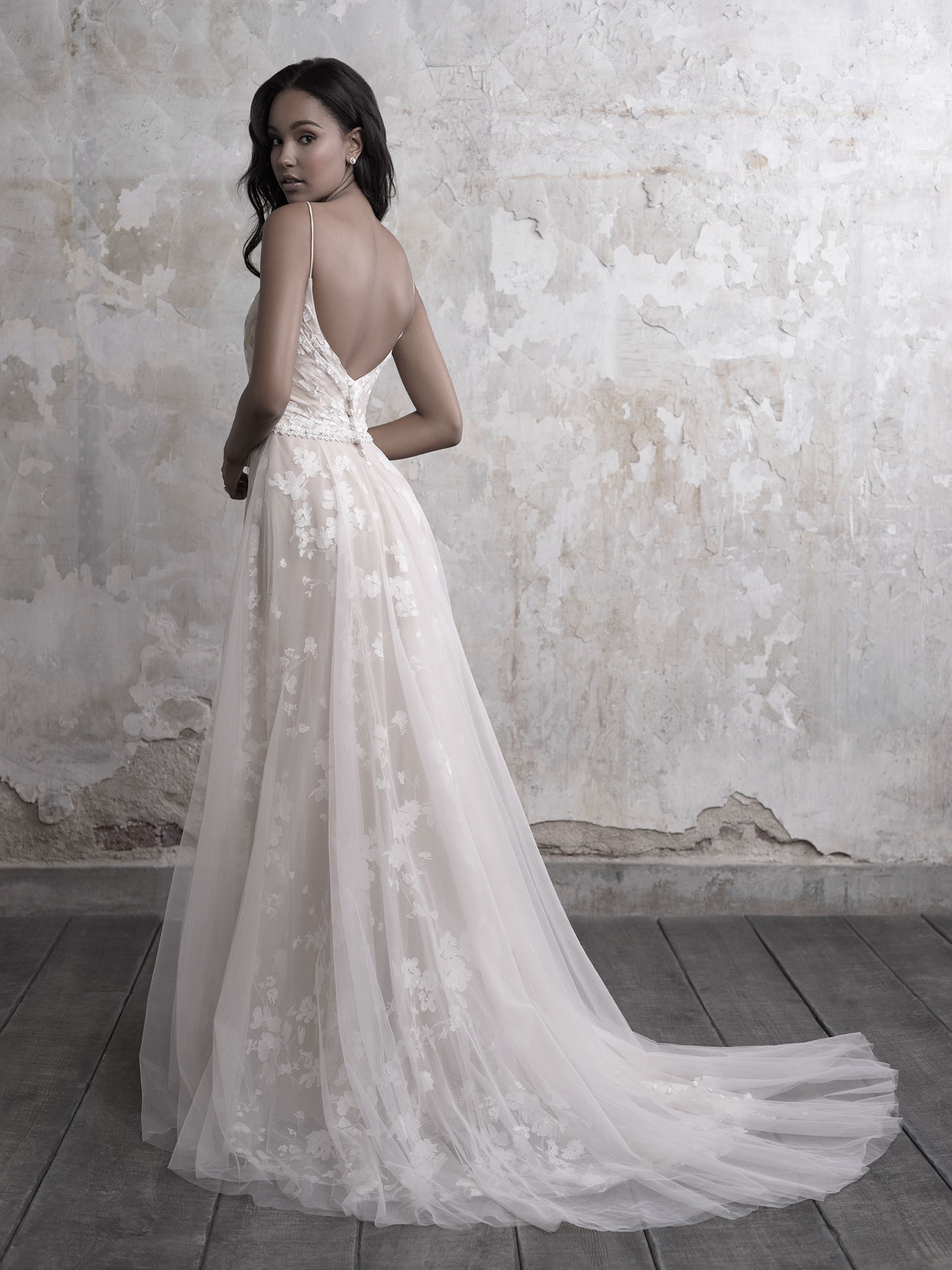 Spaghetti Strap Floral Lace And Tulle A Line Wedding Dress