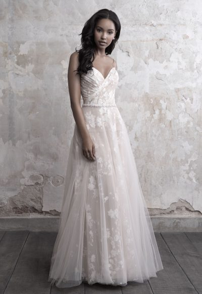 Spaghetti Strap Floral Lace And Tulle A-line Wedding Dress by Madison James