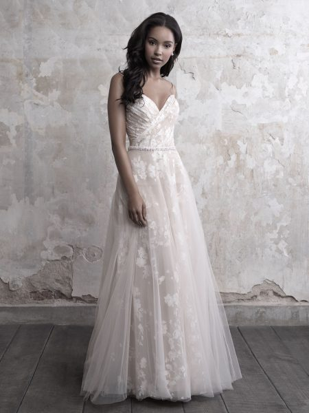 Spaghetti Strap Floral Lace And Tulle A-line Wedding Dress ...