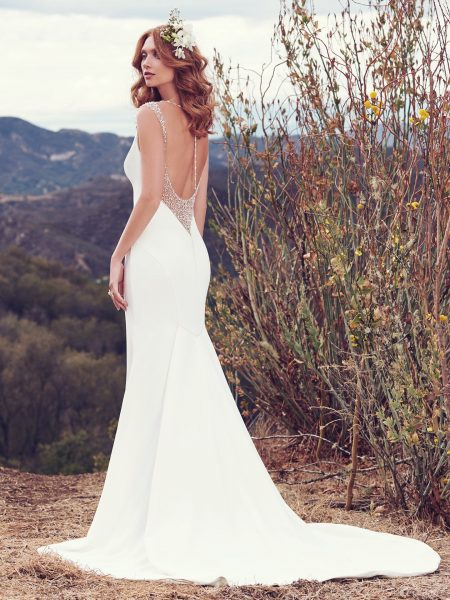 Bateau Neckline Plunging Back Details Sheath Wedding Dress by Maggie Sottero - Image 2