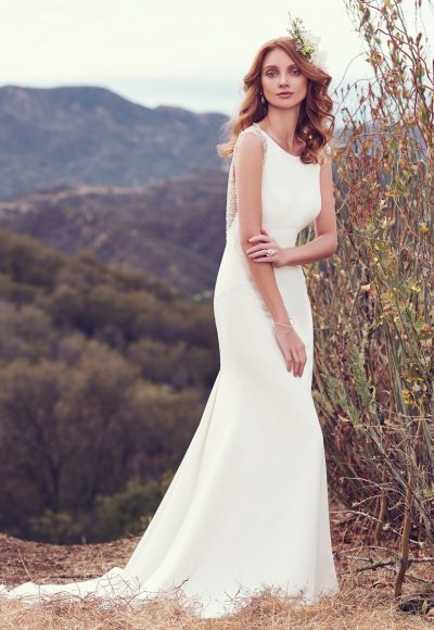 Style SPARKS Bateau Neckline Plunging Back Details Sheath Wedding Dress By Maggie Sottero