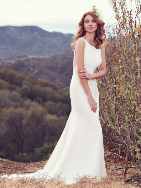 Bateau Neckline Plunging Back Details Sheath Wedding Dress by Maggie Sottero - Image 1