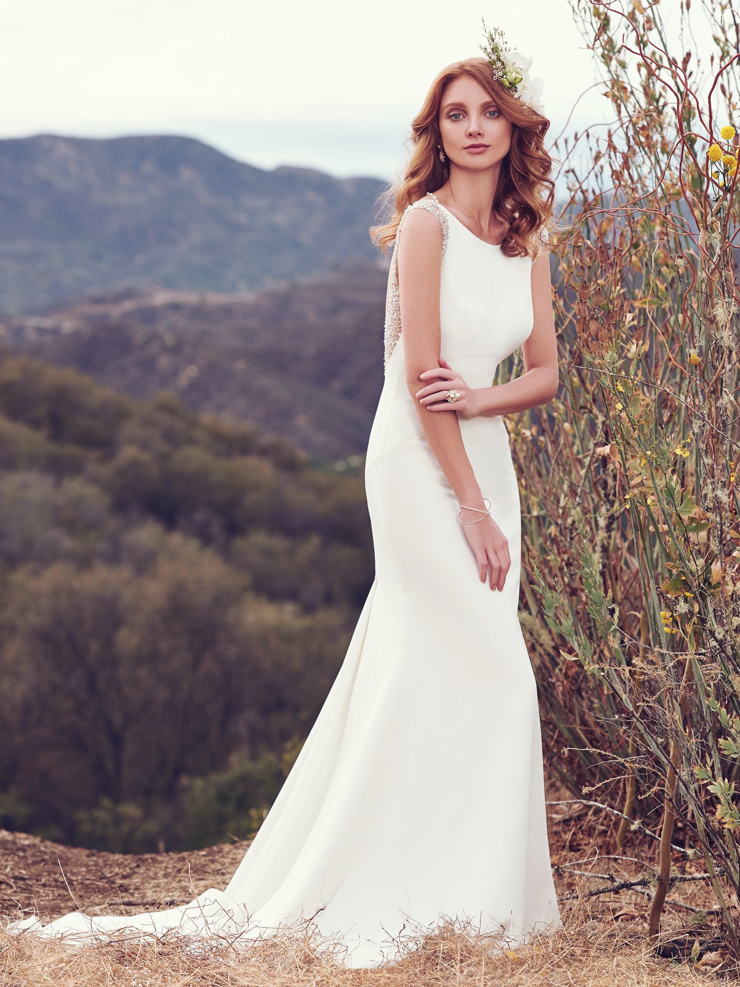Bateau Neckline Plunging Back Details Sheath Wedding Dress ...