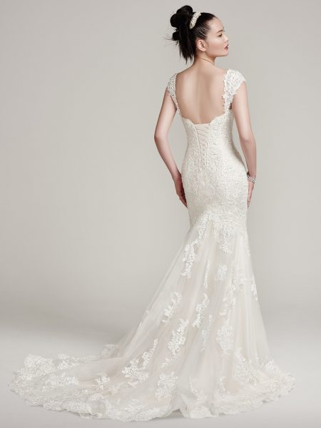 Beaded And Tulle Embellished Fit And Flare Wedding Dress by Maggie Sottero - Image 2