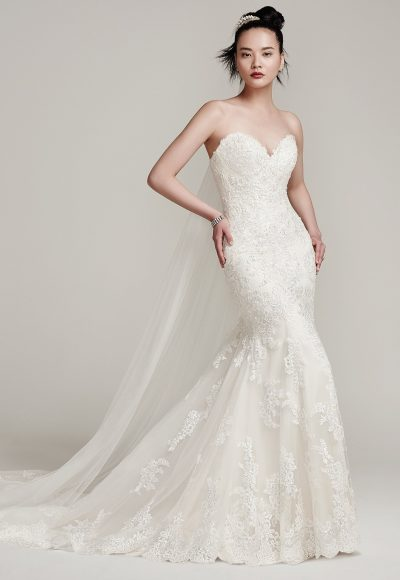 Beaded And Tulle Embellished Fit And Flare Wedding Dress by Maggie Sottero