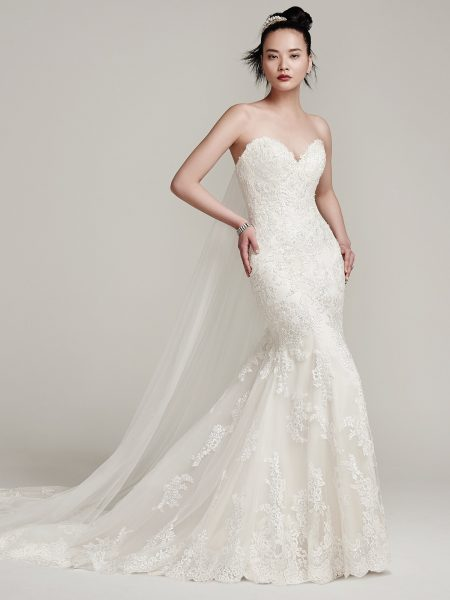 Beaded And Tulle Embellished Fit And Flare Wedding Dress by Maggie Sottero - Image 1