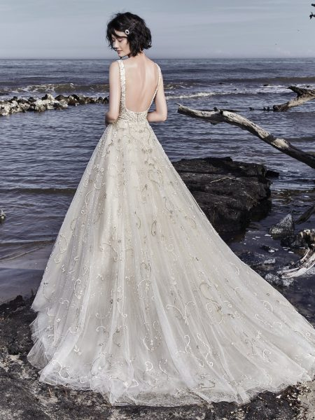 Beading And Embellishments Throughout V-neck Ball Gown Wedding Dress by Maggie Sottero - Image 2